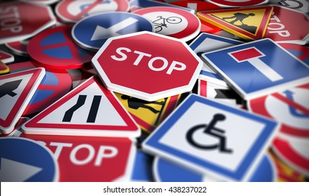 Perspective view of numerous french traffic road signs. Concept image for background, 3D illustration