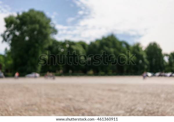 perspective view of old paved square in town