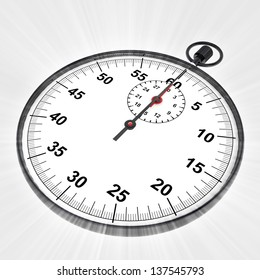 perspective view on stopwatch with shiny flare illustration