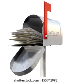 An perspective view of an open old school retro tin mailbox bulging with a pile of letters on an isolated background