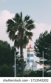 Perspective view of Santa Marta Lighthouse or Saint Martha's Lighthouse of Saint Mary in Cascais, Atlantic coast, Portugal