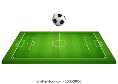 Perspective view of soccer field and soccer ball on white background