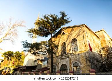 A perspective view of Surp Krikor Lusavoric Armenian Church and Kuzguncuk Mosque in Kuzguncuk. Kuzguncuk is a neighborhood in the Uskudar district in Istanbul.