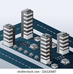A perspective view of an urban area on a gray background