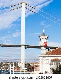 A perspective view of Uryanizade Mosque with Bosphorus Bridge in Kuzguncuk. Kuzguncuk is a neighborhood in the Uskudar district in Istanbul.