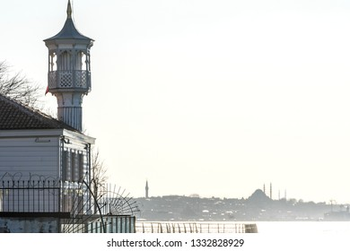 A perspective view of Uryanizade Mosque with Istanbul Silhouette in Kuzguncuk. Kuzguncuk is a neighborhood in the Uskudar district in Istanbul.