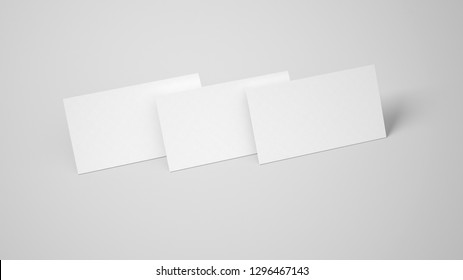 Perspective view of white business cards stack mockup at light isolated background
