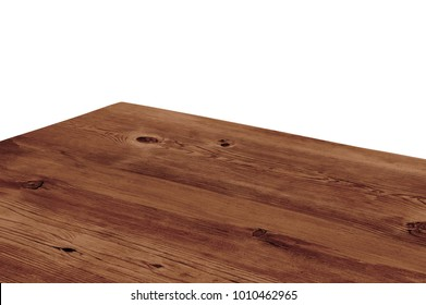 Perspective view of wood or wooden table corner isolated on white background