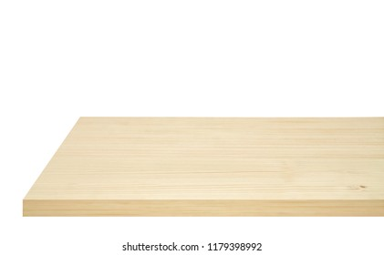 Perspective view of wood or wooden table corner from top isolated on white background including clipping path, template mock up for display products.