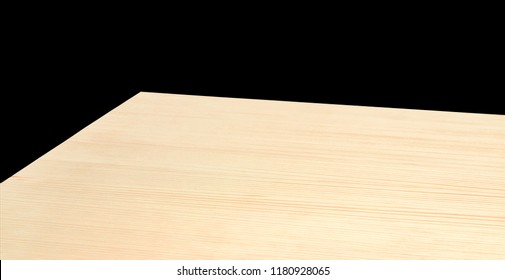 Perspective view of wood or wooden table top corner on black background including clipping path, template mock up for display products.