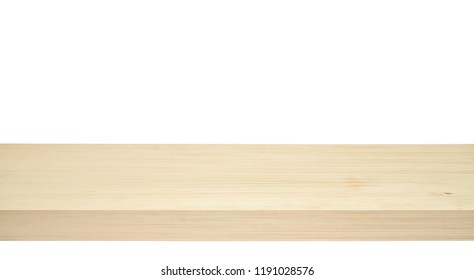 Perspective view of wood or wooden table edge isolated on white background including clipping path