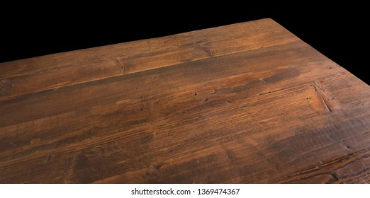 Perspective view of wood or wooden table corner on black background including clipping path