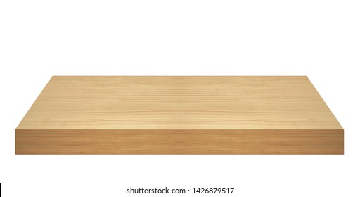 Perspective view of wood or wooden table top isolated on white background including clipping path