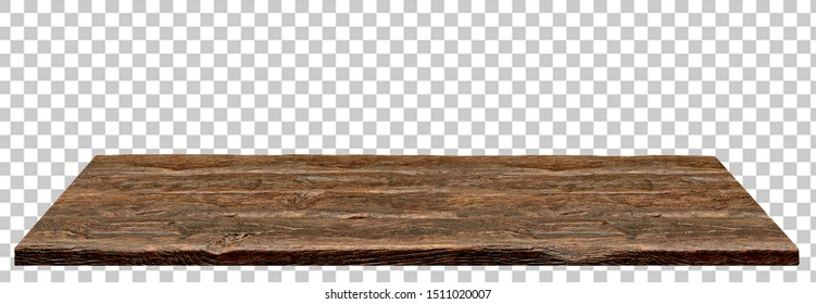 Perspective view of wood or wooden table top isolated on white background with shallow depth of field including clipping path