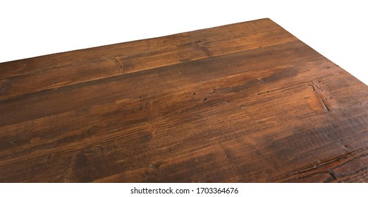 Perspective view of wood or wooden table corner isolated on white background including clipping path