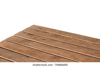 Perspective view of wood or wooden table corner on white background including clipping path.
