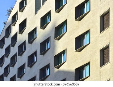 Perspective windows in a building of Milan, Italy