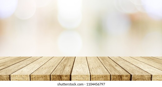 Perspective wood and blurred store with bokeh background, product display montage
