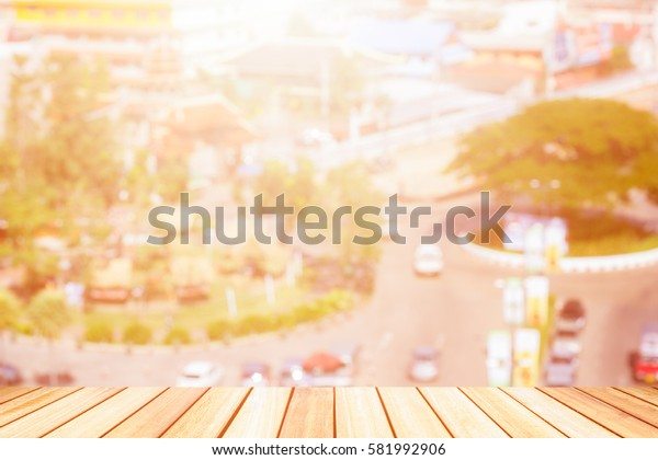 Perspective wood deck overlook the city's background atmosphere as the sun sets. Services include product display  template
