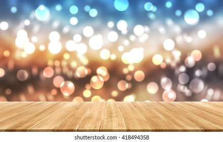 perspective wood plank background  Bokeh  display your products.