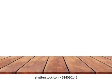 Perspective wood shelf,wood table or wood floor on isolate background.