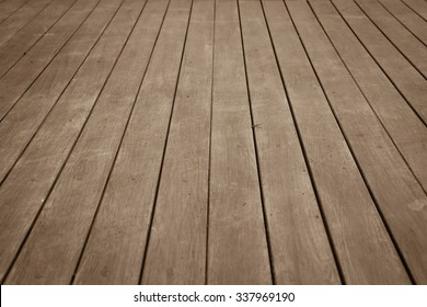 perspective wooden floor ,image in soft focusing ,vintage tone