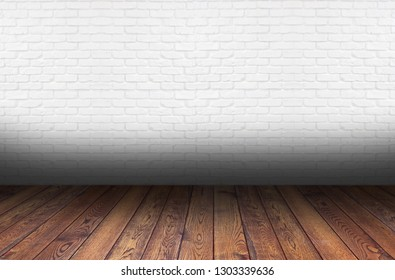 perspective wooden floor and white brick wall background