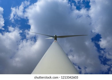 A perspectively shooted in height wind turbine