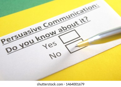 Persuasive communication : do you know about it? yes or no