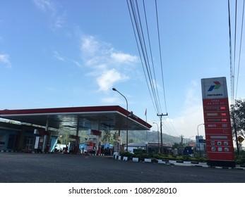 Pertamina station oil in For car, truck, bus. Yogyakarta Indonesia. May 01, 2018.