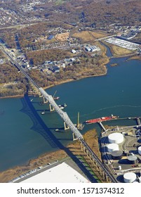 PERTH AMBOY, NJ -16 NOV 2019- View of the Outerbridge Crossing, a landmark cantilever bridge carrying Route NY 440 over the Arthur Kill river between New Jersey and Staten Island, New York.