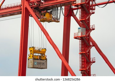 Perth, Australia - 23 Jan 2018: Closeup of harbour crane at work