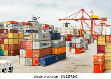 Perth, Australia - 23 Jan 2018: Closeup of harbour shipping containers