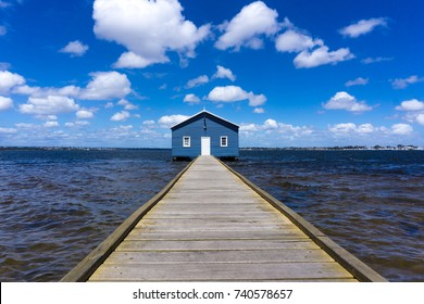 PERTH, AUSTRALIA - 24 OCTOBER, 2017: Crawley Edge Boatshed, a popular and well-recognized site in Perth, Western Australia with beautiful blue sky background