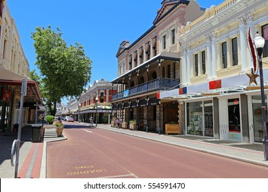 PERTH, AUSTRALIA: 26 DECEMBER 2016: Old building facades line the street in Fremantle, Perth. Fremantle was the first area settled by the Swan River colonists in 1829. Editorial.