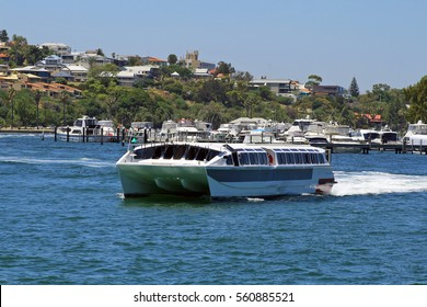 PERTH, AUSTRALIA - 27 DECEMBER 2016: A ferry - the Shelley Taylor-Smith - crossing from Elizabeth Quay to South Perth. In 2015 there were 400,000 passenger boardings on Perth ferry services. Editorial