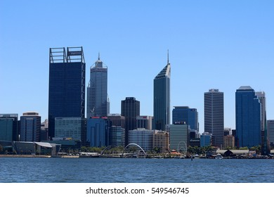 PERTH, AUSTRALIA - 30 DECEMBER 2016: Perth city skyline viewed from South Perth. Perth is the capital & largest city of Western Australia with an estimated population of 2.04 million. Editorial.