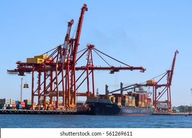 PERTH, AUSTRALIA - 30 DECEMBER 2016: A cargo ship offloading in Fremantle Harbour. Fremantle is Western Australia's largest & busiest general cargo port & an important historical site. Editorial.