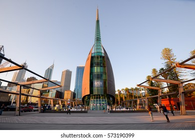 PERTH, AUSTRALIA - 5 FEB 2017: The Perth Bell Tower, home to the Swan Bells. The Swan Bells are a set of 18 bells hanging in the specially built 82.5 metre-high copper & glass campanile.