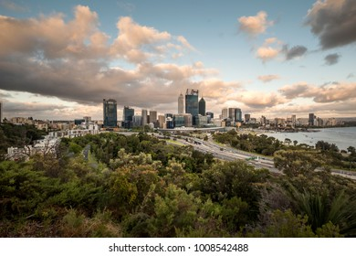 Perth, Australia - Dec 17 2017: High vantage view of its beautiful bustling city and central business district during late afternoon.