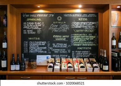 Perth, Australia - Dec 17 2017: Display of wine bottles at Sittela Winery of swan  valley region.
