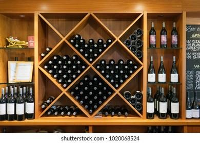 Perth, Australia - Dec 17 2017: Display of wine bottles stacked in rows at Sittela Winery of swan  valley region.