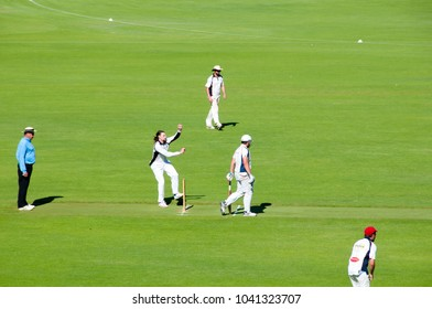 PERTH, AUSTRALIA - February 10, 2018: Outdoors recreational cricket game played in park