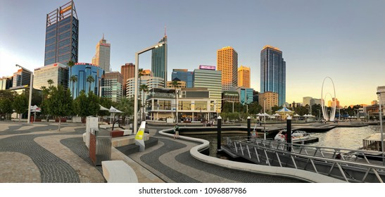 PERTH, AUSTRALIA - FEBRUARY 2018 : Panoramic view of Central Business District (CBD), Skyscrapers, buildings in Perth, Australia on February 24, 2018. View from Elizabeth Quay in evening.
