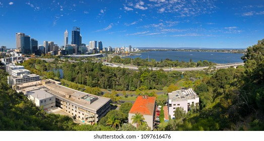 PERTH, AUSTRALIA - FEBRUARY 2018 : Panoramic view of Perth City, Central Business District in afternoon in Perth, Australia on February 24, 2018. View from Kings Park