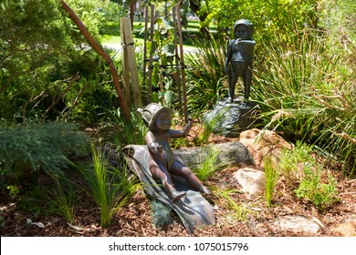 PERTH, AUSTRALIA - FEBRUARY 2018 : Sculptures of Gumnut babies at Stirling gardens in Perth, Australia on February 24, 2018. Gumnut baby is characters from May Gibbs's book.
