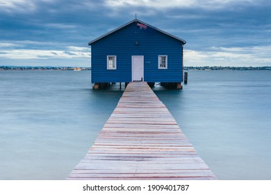 Perth, Australia - February 8 2008: The Crawley Edge Boatshed or Blue Boat House is located on the Swan River in the suburb of Crawley in Perth, Western Australia, Australia