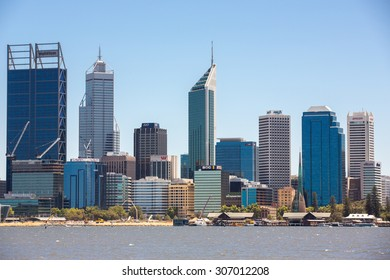 Perth, Australia - January 10, 2015: View of the Central Business District and Swan River.