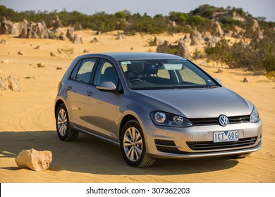 Perth, Australia - January 10, 2015: View of  a Volkswagen Golf 7, with Right Hand Drive  for the Australian market.