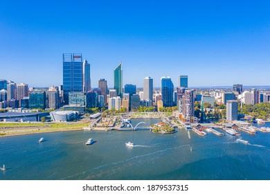 PERTH, AUSTRALIA, JANUARY 16, 2020: Skyline of Elizabeth quay in Perth, Australia